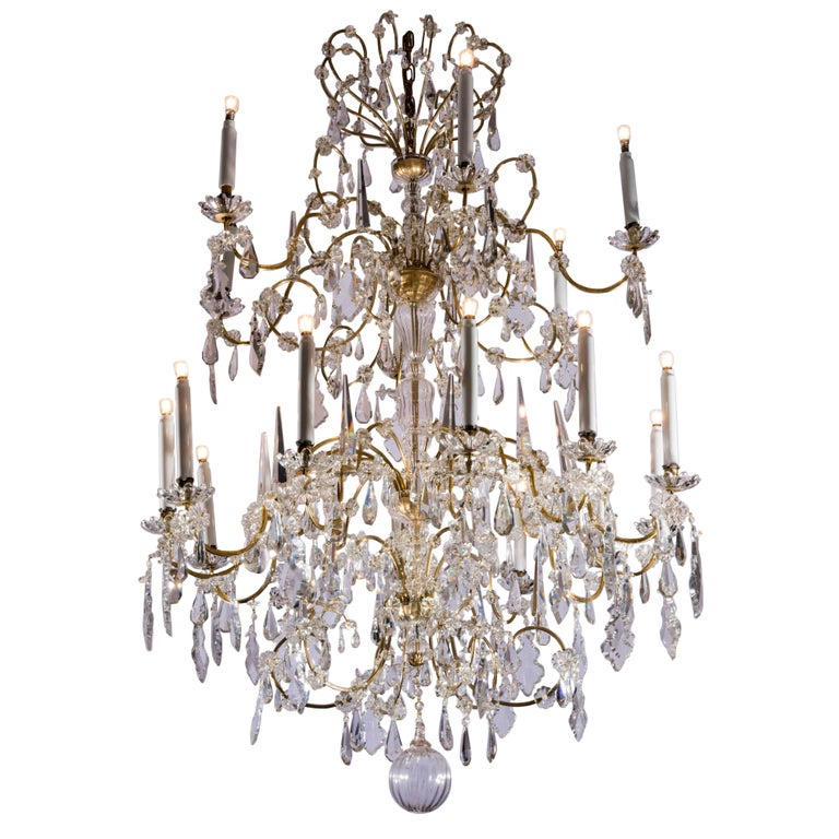 Large 19th Century Italian Crystal Chandelier Two-tier Eighteen-Light