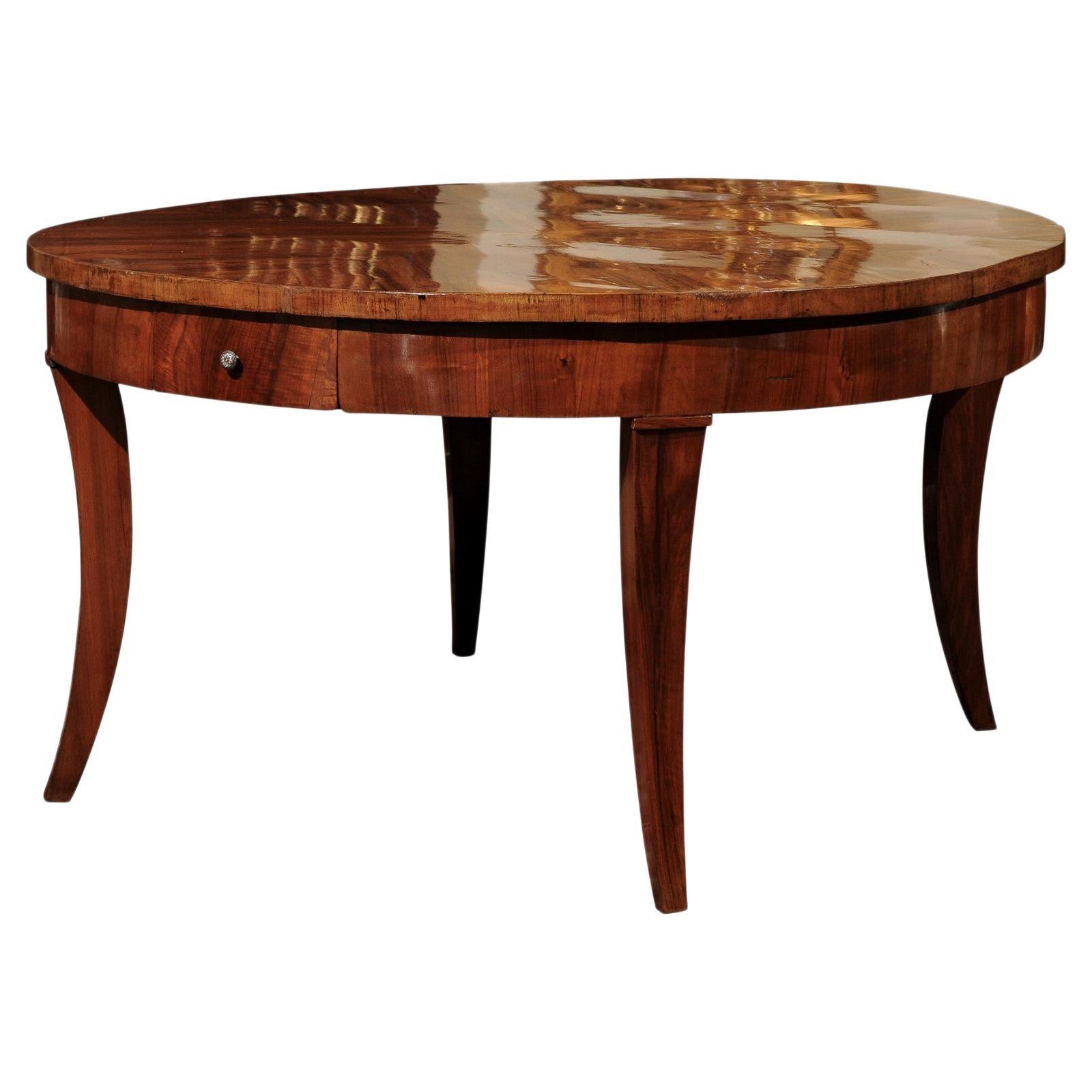 Large 19th Century Italian Walnut Round Dining or Center Table