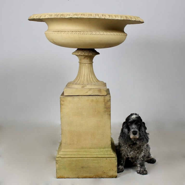 A beautiful, large, 19th century J M Blashfield tazza on its original pedestal. In good condition, crisply cast, all the three elements stamped. This model appears in the J M Blashfield catalogue of 1857 ' A selection of vases, statues, busts &c