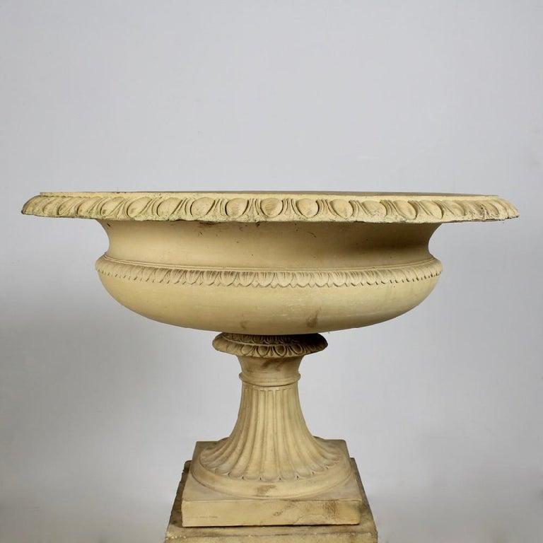 British Large 19th Century J M Blashfield Buff Terracotta Garden Tazza Urn on Pedestal For Sale