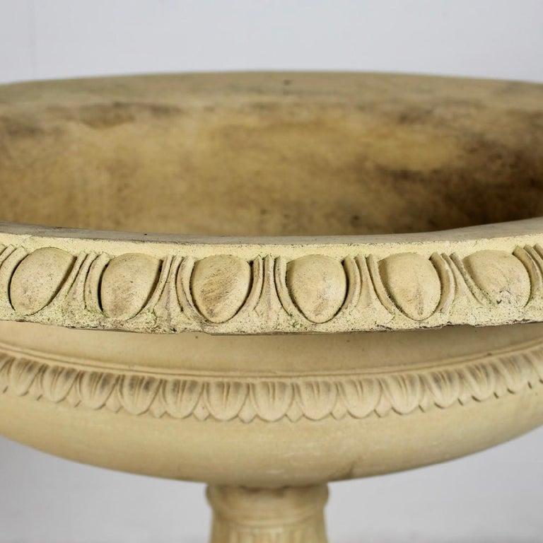 Large 19th Century J M Blashfield Buff Terracotta Garden Tazza Urn on Pedestal In Good Condition For Sale In Shustoke, GB