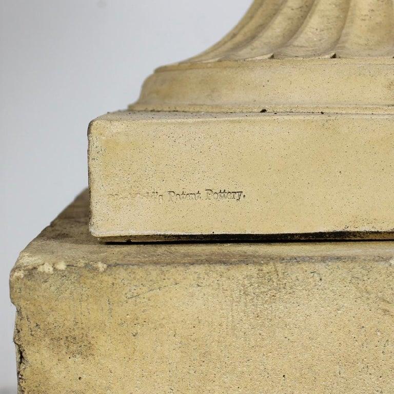Large 19th Century J M Blashfield Buff Terracotta Garden Tazza Urn on Pedestal For Sale 2