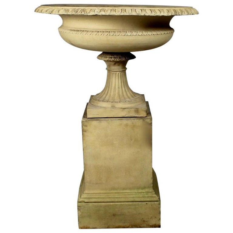 Large 19th Century J M Blashfield Buff Terracotta Garden Tazza Urn on Pedestal For Sale