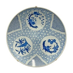 Large 19th Century Japanese Blue and White Four Seasons Platter