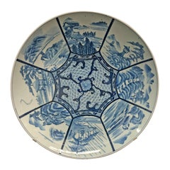Large 19th Century Japanese Blue and White Platter