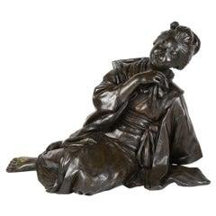 Large 19th Century Japanese Bronze Reclining Geisha Girl