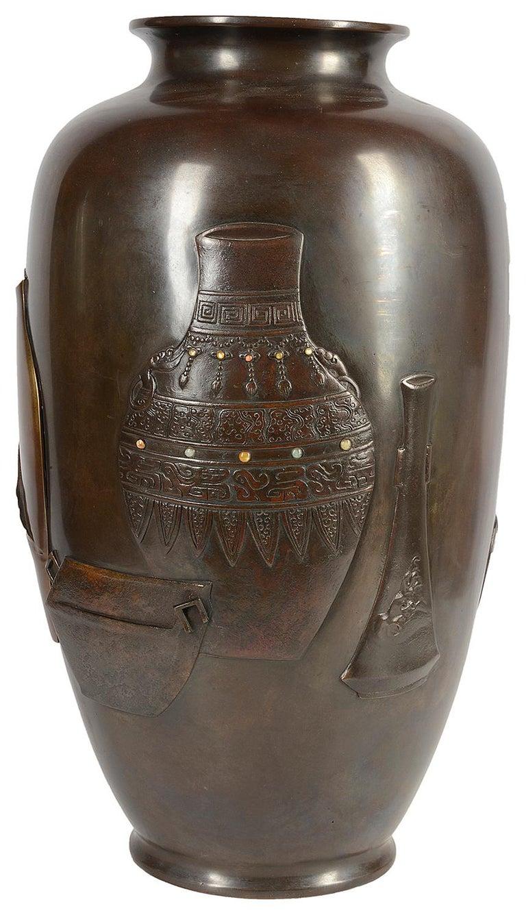 Large 19th Century Japanese Meiji Period Bronze Vase For Sale 2