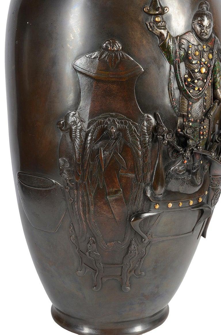 Large 19th Century Japanese Meiji Period Bronze Vase For Sale 4