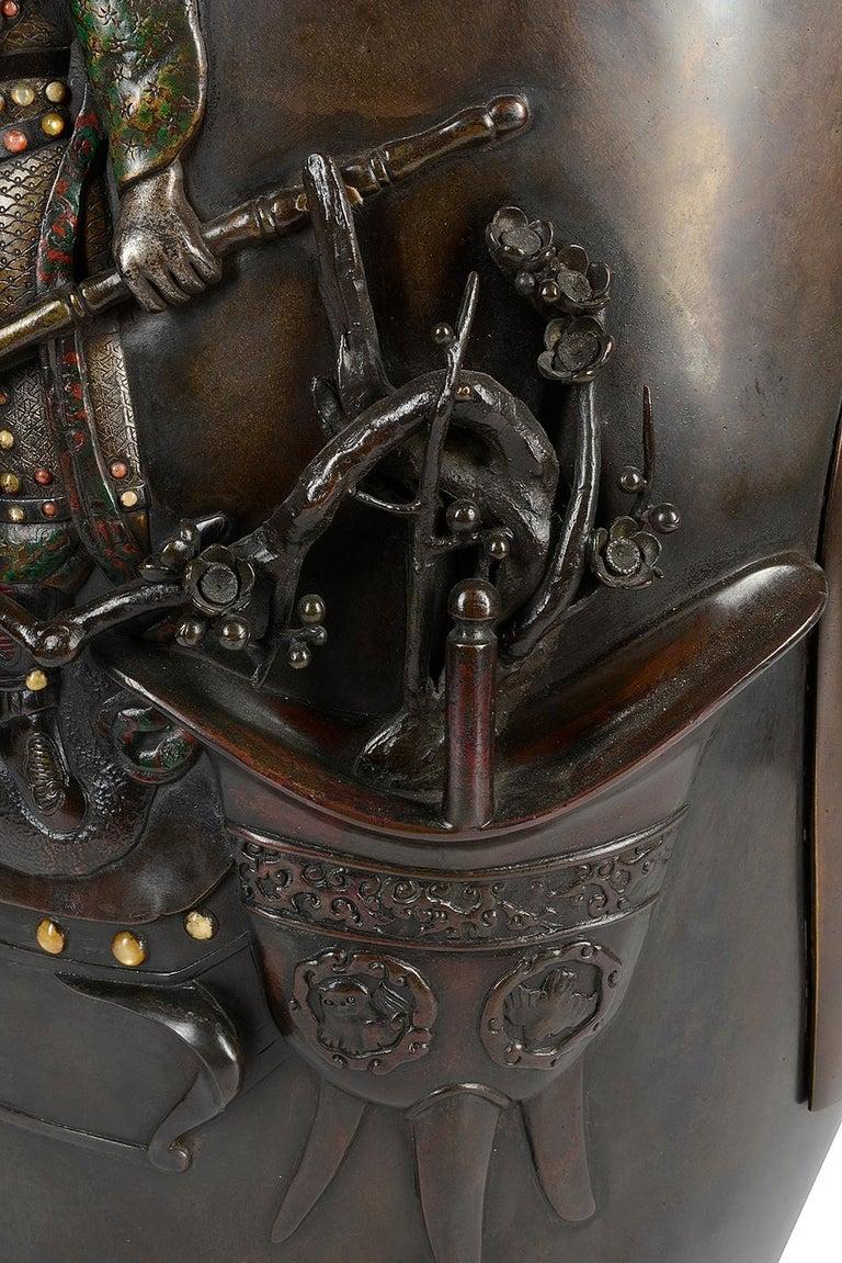 Large 19th Century Japanese Meiji Period Bronze Vase For Sale 5