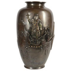 Large 19th Century Japanese Meiji Period Bronze Vase