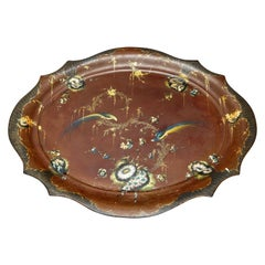 Large 19th Century Japanned Polychrome Decorated Tôleware Tray on Later Stand