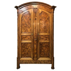 Large 19th Century Louis XVI Style French Provincial Burled Ash Armoire
