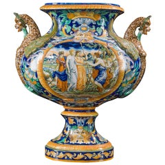 Large 19th Century Maiolica Vase Urn with Classical Scenes