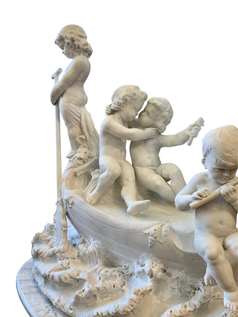 Large 19th century marble sculpture, 'The Love Boat' For Sale 8