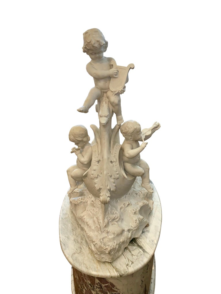 Large 19th century marble sculpture, 'The Love Boat' For Sale 9