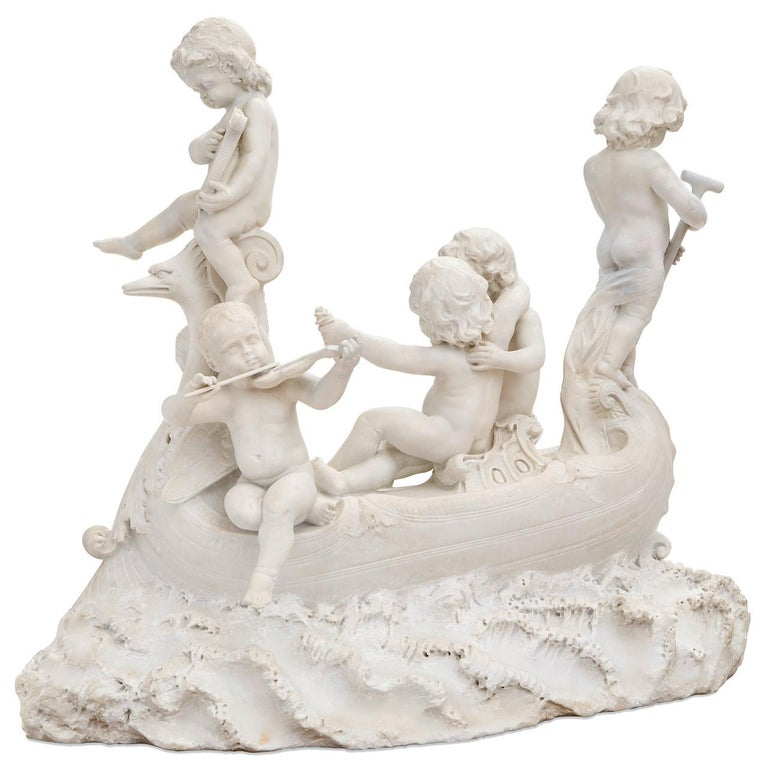 Large 19th century marble sculpture, 'The Love Boat' For Sale 14
