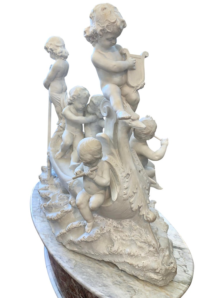 19th Century Large 19th century marble sculpture, 'The Love Boat' For Sale