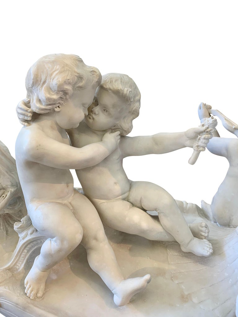 Large 19th century marble sculpture, 'The Love Boat' For Sale 2