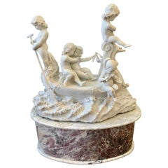 Large 19th century marble sculpture, 'The Love Boat'