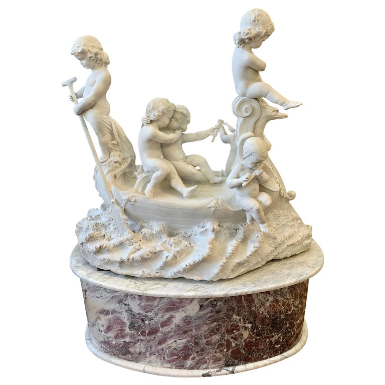 Large 19th century marble sculpture, 'The Love Boat' For Sale