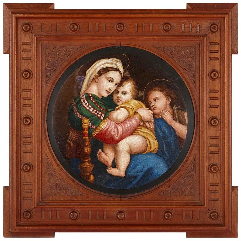 "Large 19th Century Micro-Mosaic after Raphael's ""Madonna della seggiola"" For Sale"