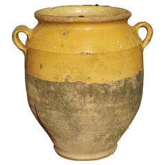 Large 19th Century Mustard Yellow French Confit Pot