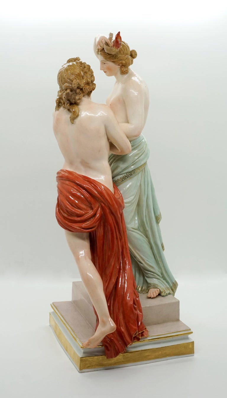 Classical Greek Large 19th Century Mythological Meissen Group 'Hero and Leander' by Juechtzer For Sale