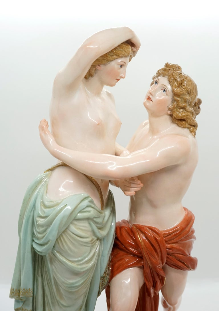 Hand-Painted Large 19th Century Mythological Meissen Group 'Hero and Leander' by Juechtzer For Sale