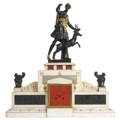Large 19th Century Neoclassical Figural Bronze and Marble Mantle Clock