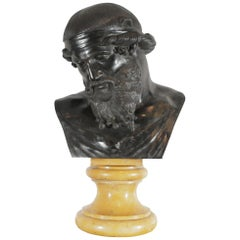 Large 19th Century Neoclassical Roman Bronze Bust of Saturn on Marble Base