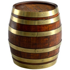 Large 19th Century Oak and Brass Coopered Novelty Rum Barrel