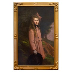 Large 19th Century Oil Portrait of Young Girl