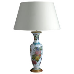 Large 19th Century Opaline Vase Lamp