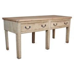 Large 19th Century Original Painted Pine Kitchen Preparation Side Serving Table