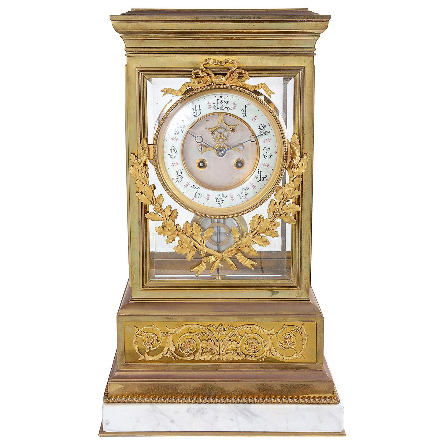 Large 19th Century Ormolu Four Glass Mantel Clock, 19th Century
