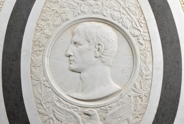 Classical Roman Large 19th Century Oval Marble Relief of the Roman Emperor Claudius with Eagle