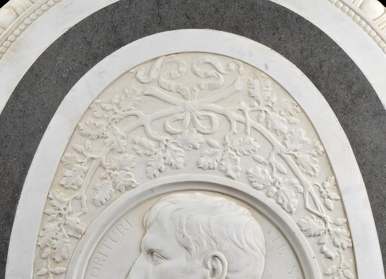 Italian Large 19th Century Oval Marble Relief of the Roman Emperor Claudius with Eagle
