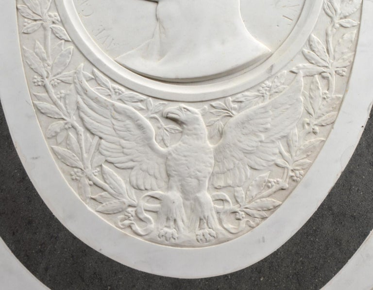 Hand-Carved Large 19th Century Oval Marble Relief of the Roman Emperor Claudius with Eagle