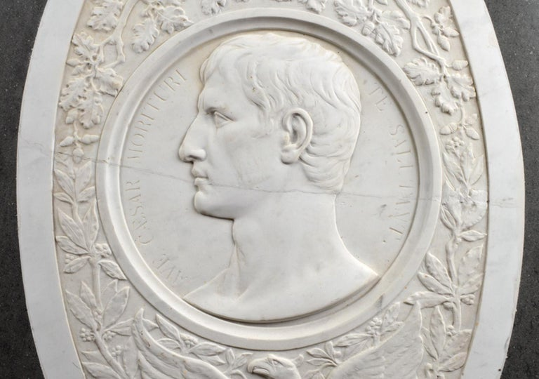 Large 19th Century Oval Marble Relief of the Roman Emperor Claudius with Eagle 2