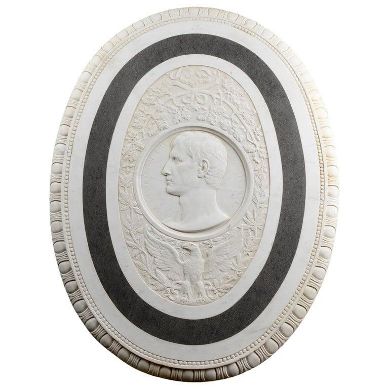 Large 19th Century Oval Marble Relief of the Roman Emperor Claudius with Eagle