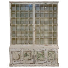 Large 19th Century Painted Glazed Bookcase Cabinet