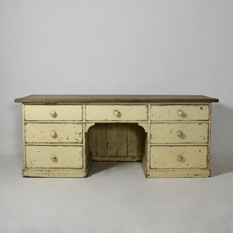 A large and robust 19th century pine dog kennel dresser base, retaining layers of old distressed paint, with the most wonderful 1 1/2