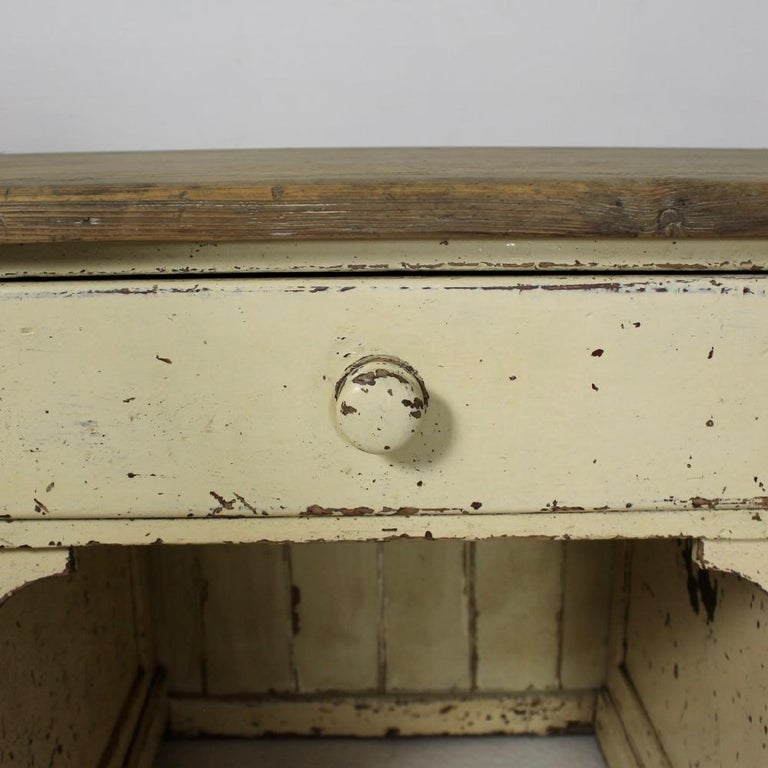 Large 19th Century Painted Pine Dog Kennel Dresser Base In Good Condition For Sale In Shustoke, GB