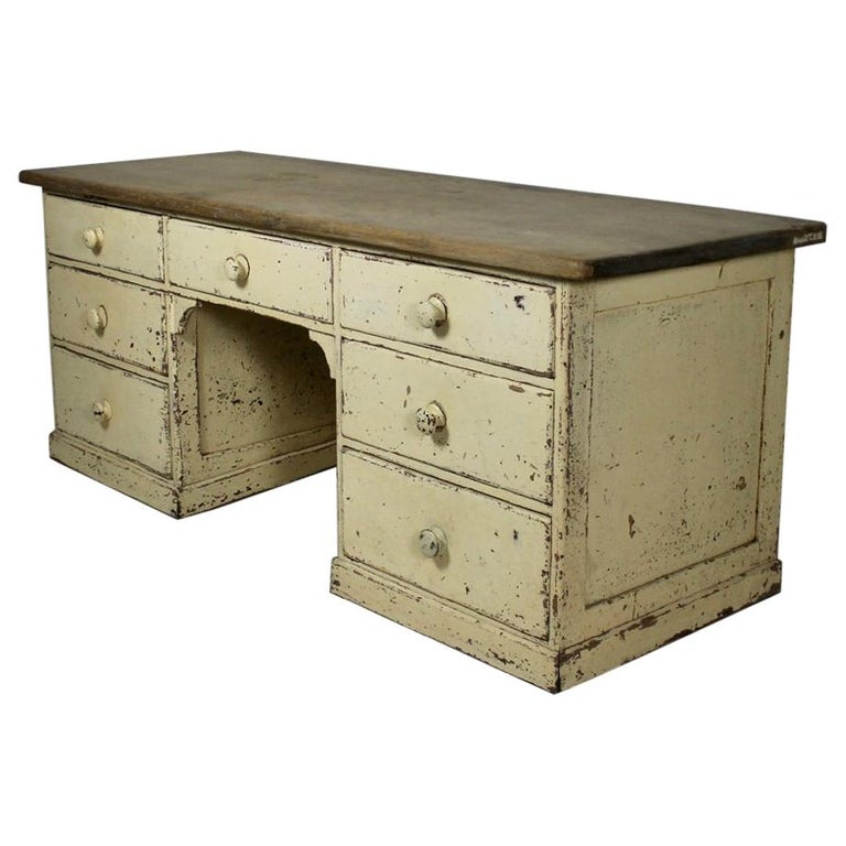 Large 19th Century Painted Pine Dog Kennel Dresser Base For Sale