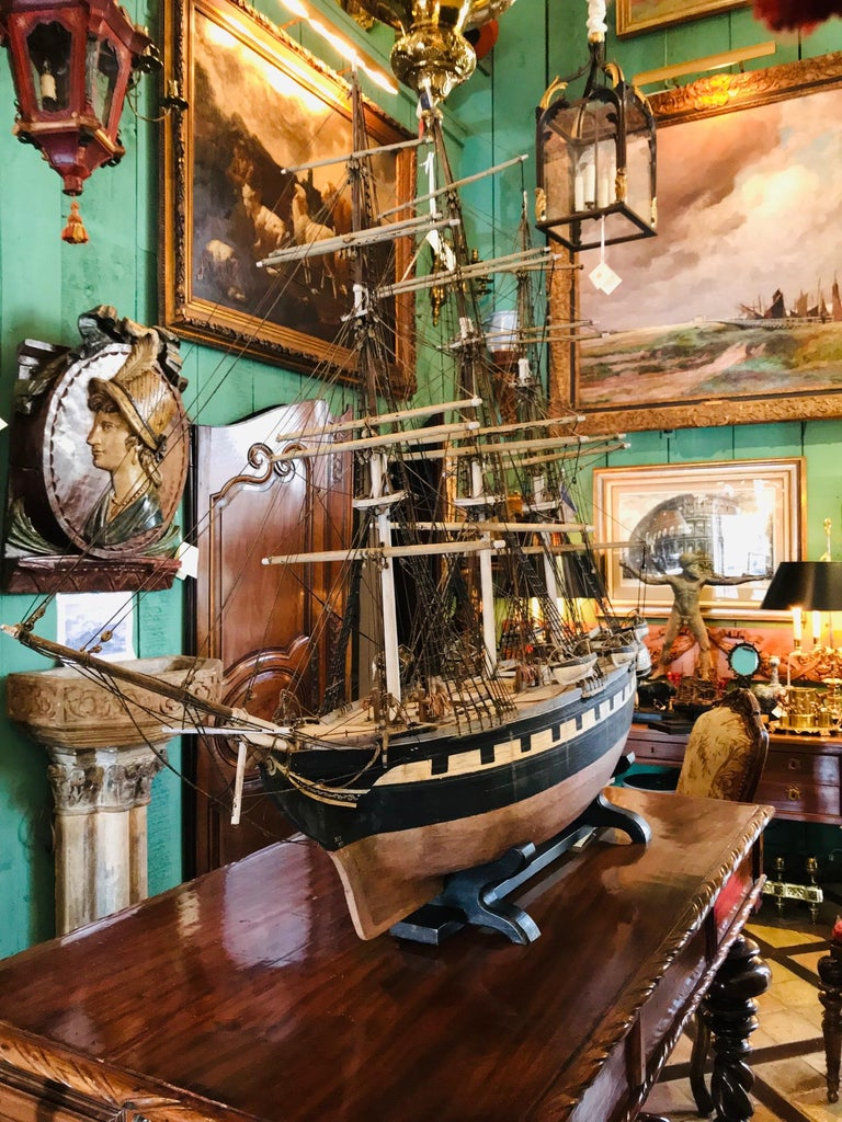 A very large and rare 19th century painted wood model of the sailing ship