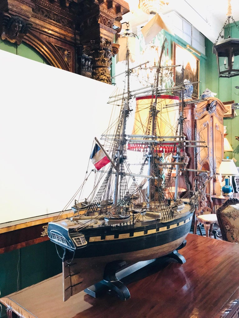 Large 19th Century Painted Wood Model of the Sailing Ship