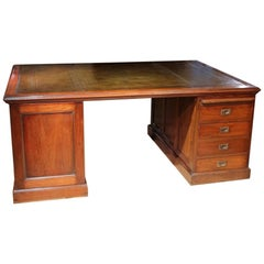 Large 19th Century Partnerdesk with Green Leather