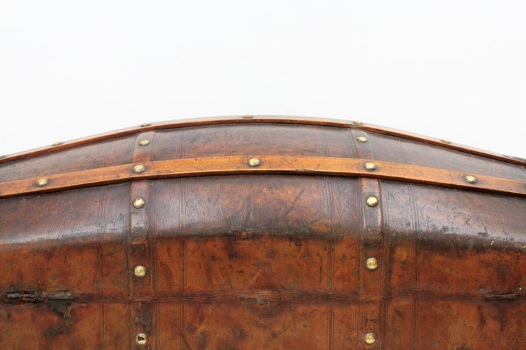 Portuguese Large Dome Top Leather Steamer Trunk, 19th Century For Sale 4
