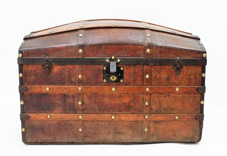 Brass Portuguese Large Dome Top Leather Steamer Trunk, 19th Century For Sale