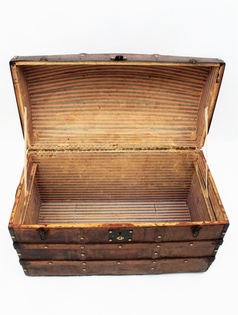 Portuguese Large Dome Top Leather Steamer Trunk, 19th Century For Sale 8